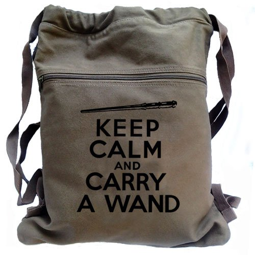 Keep Calm Carry a Wand Backpack Brown Harry Potter