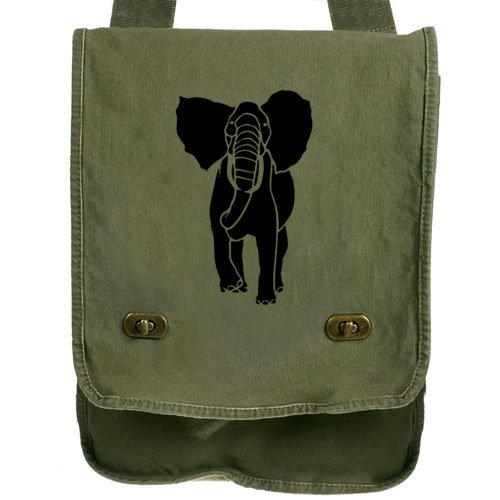 African Elephant Messenger Bag Green Canvas