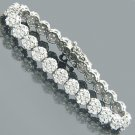 14 Karat White Gold Womens Diamond Cluster Tennis Bracelet 8.25ct