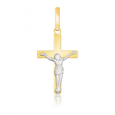 14K Jewellery New Two Tone Gold Crucifix Motif Pendant - Genuine Fine Jewelry