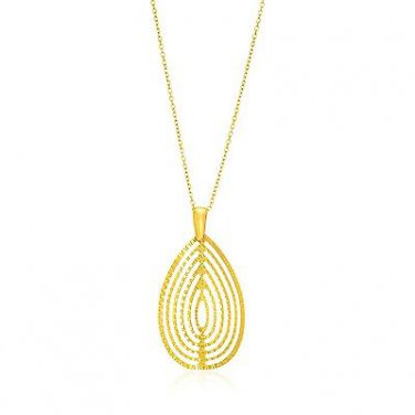 14K Yellow Gold Concentric Teardrop Textured Pendant - Genuine Fine Jewelry