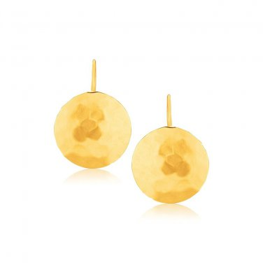 14K Yellow Gold Hammered Texture Disc Drop Earrings Medium - Fine Jewelry