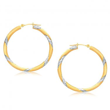 14K Two Tone Gold Polished Hoop Earrings (30 mm) - New Genuine Fine Jewelry
