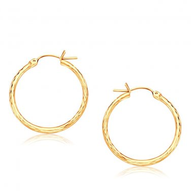 14K Yellow Gold Diamond Cut Hoop Earrings  25mm Diameter - New Fine Jewelry
