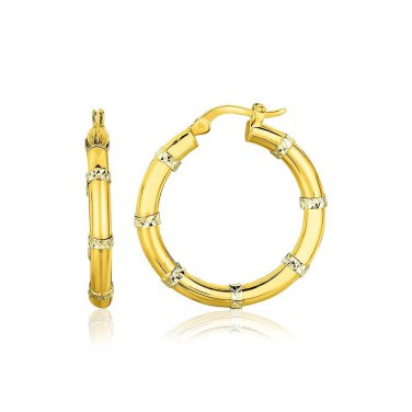 14K Two-Tone Gold Alternate Textured Hoop Earrings - New Genuine Fine Jewelry