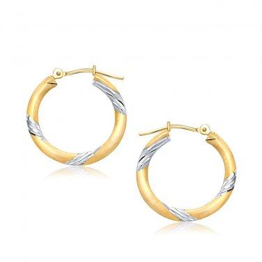 14 Karat Two Tone Gold Polished Hoop Earrings 20 mm New Genuine Fine Jewelry