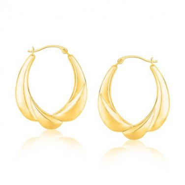 Gold Jewellery Yellow Scallop Motif Graduated Oval Hoop Earrings - Fine Jewelry