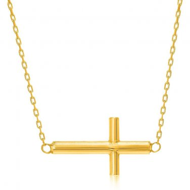 14K Yellow Gold Necklace with a Polished Crucifix Design - Genuine Fine Jewelry