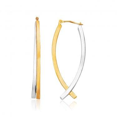 14K Two Tone Gold Double Row Fancy Drop Earrings - New Genuine Fine Jewelry