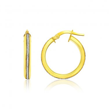 14K Two Tone Gold Hoop Earrings with Glitter Center - Genuine Fine New Jewelry