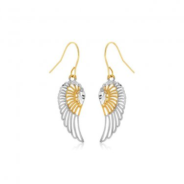 Two Tone Jewellery Wing Drop Earrings in 10K Gold - New Genuine Fine Jewelry