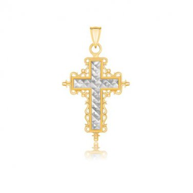 14K Two-Tone Gold Diamond Cut and Baroque Inspired Cross Pendant - Fine Jewelry