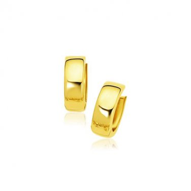 14 Karat Yellow Gold Jewellery Snuggable Hoop Earrings Genuine New Fine Jewelry