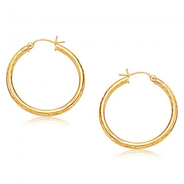 14 Karat Yellow Gold Hoop New Earring with Diamond-Cut Finish 30 mm Diameter