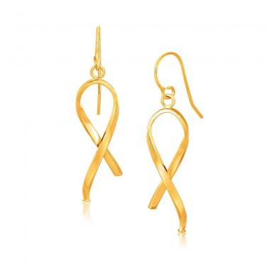 14K Jewellery Yellow Gold Ribbon Style Dangling Earrings Genuine Fine Jewelry