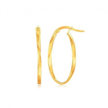14 Karat  Yellow Gold Slim Oval Twist Hoop Earrings - Genuine Fine New Jewelry
