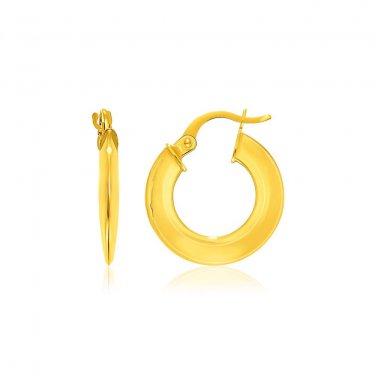 14K Yellow Gold Round Puffed Design Hoop Earrings - New Genuine Fine Jewelry