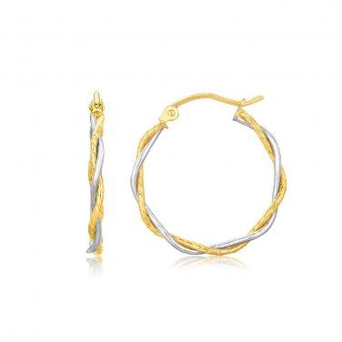 14K Two Tone Gold Twisted Hoop Earrings 1 inch Diameter - Genuine Fine Jewelry