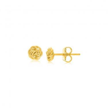 14K Yellow Gold Small Love Knot Motif Stud Earrings - Genuine Fine New Jewelry