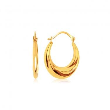 14K Yellow Gold Jewellery Graduated Oval Hoop Earrings - Genuine Fine Jewelry