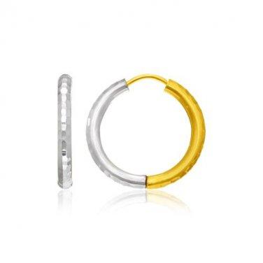 14K Two-Tone Gold Hinge Hammered Hoop Earrings - Genuine Fine Metal Jewelry