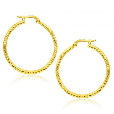 14K Yellow Gold Tube Textured Round Hoop Earrings - New Genuine Fine Jewelry