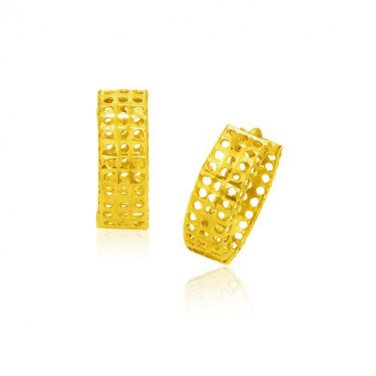 14 Karat Yellow Gold Hinged Mesh New Snuggable Earrings - Genuine Fine Jewelry