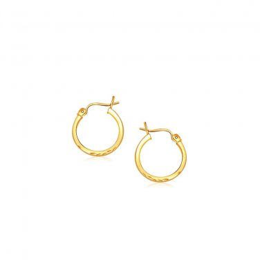14K Yellow Gold Slender Hoop Earring with Diamond-Cut Finish 15mm Diameter