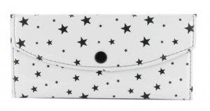 Women's Fashion Wallet ~ White With Black Stars