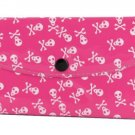 Women's Fashion Wallet ~ Pink With White Skulls