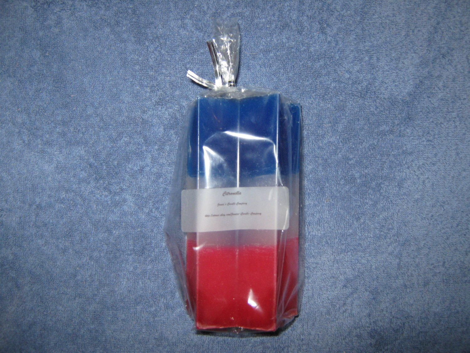 Citronella Red, White & Blue Star Pillar Candle