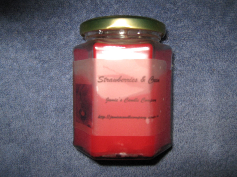 Strawberries & Cream 12 Ounce Hexagon Jar Candle