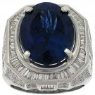Ring Men  19.40CT Tanzanite 2.85CT Baguettes 1.00CT Round Diamonds 18KT White Gold