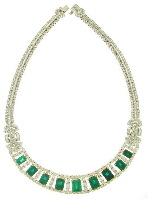 Emerald & Diamond Necklace Bracelet Ring Earrings Set...