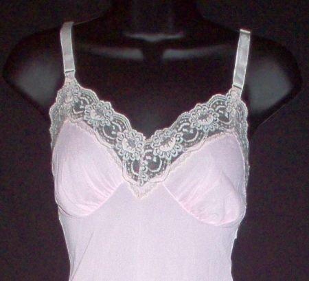Vintage Pink & Mocha Lace Full Slip