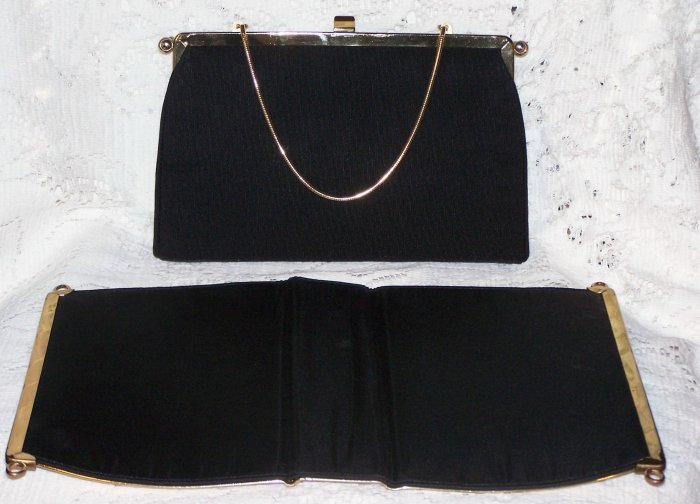 Vintage Convertible Black & Gold Clutch Bag Purse 3 in one!