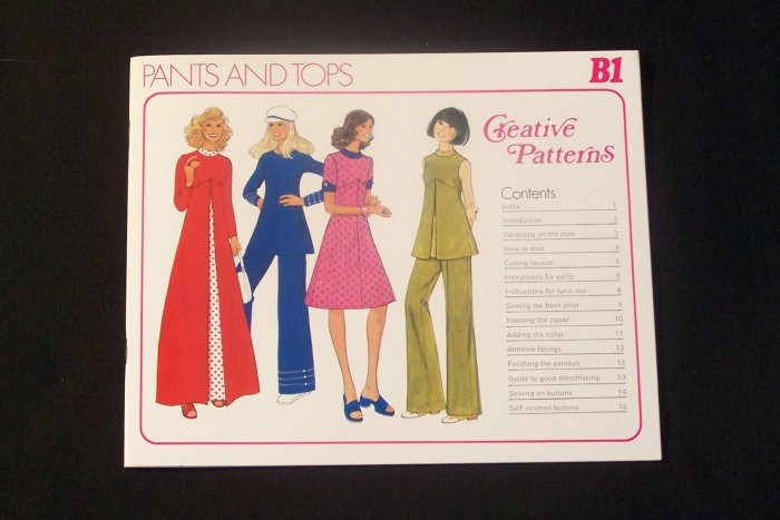 Vintage 70's 1975 Creative Patterns B1  Tunic Top Pant Pants Suit Pattern Uncut 5 sizes