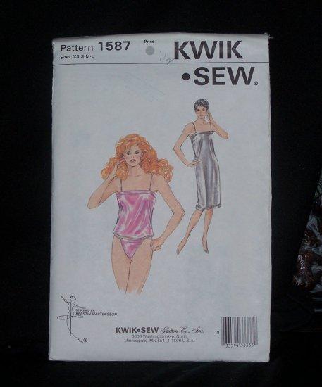 Kwik Sew Lingerie Pattern Camisole Bias Back Bikini Panties Panty Bias Slip XS S M L