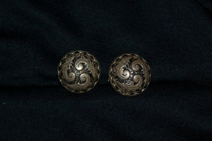 Vintage Pierced Earrings Antiqued Silver Tone Domed