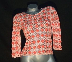 Hippie Boho Crocheted Crochet Top Shirt Coral & Cream 3/4 Sleeves Sleeve