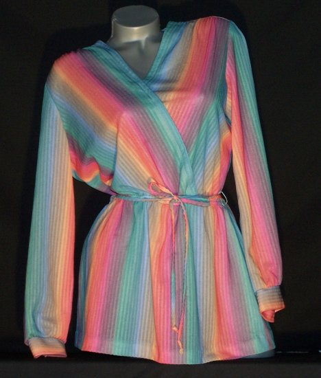 Vintage 70's Boho Indie Emo Gypsy Ombre Stripe Top Shirt Rainbow