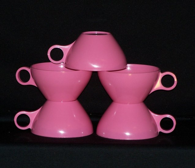 Melmac Melamine Pink Cups Lot of 5 Excellent condition