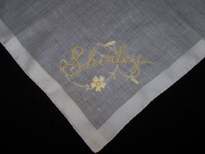 Vintage Embroidered Shirley Handkerchief Hanky Hankie