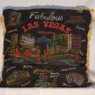 Vintage Las Vegas Nevada Souvenir Pillow Black Fringed
