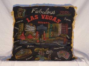 Vintage Las Vegas Nevada Souvenir Pillow Black Fringed