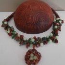 Crochet wire necklace, beaded necklace,jewelry wire,pendant birds nest,  wrapped jewelry,gemstones