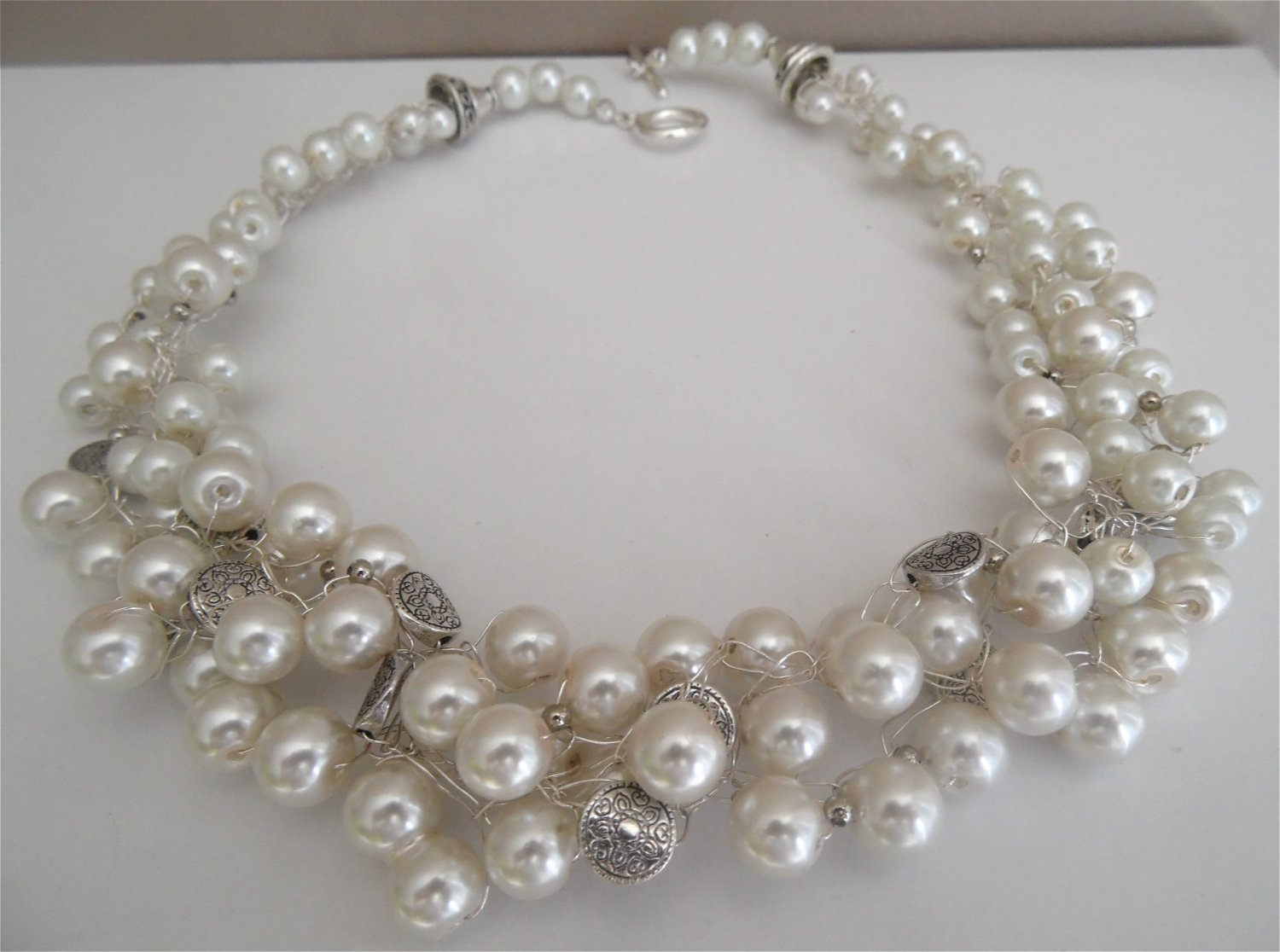 Pearl statement necklace,Crochet wire necklace, Bridal pearl jewelry, Elegant , Statement