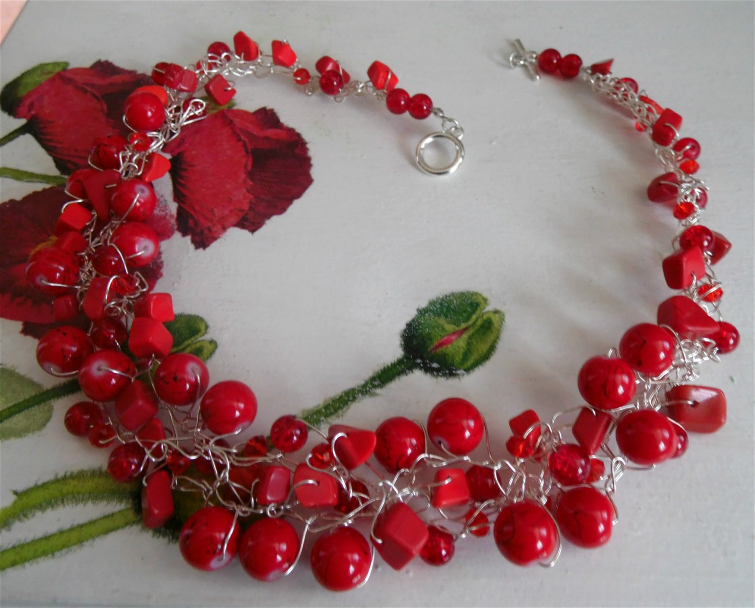 Red crochet wire necklace, coral red glass beads