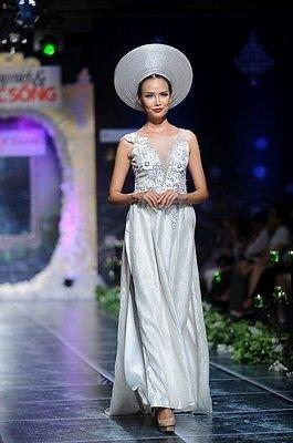 White Vietnamese Traditional Beautiful Lace Ao Dai