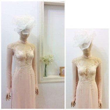 Vietnam traditional  wedding dress  ao dai cuoi  traditional long dress aodai